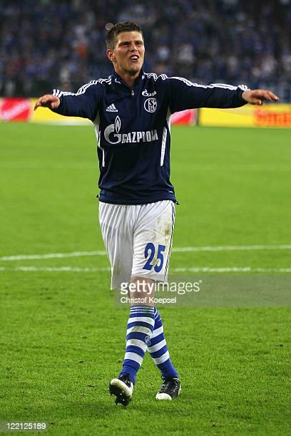 Klaas-Jan Huntelaar of Schalke celebrates after the UEFA Europa League play-off second leg match between FC Schalke and HJK Helsinki at Veltins Arena...