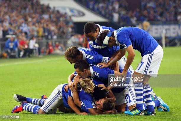 Klaas-Jan Huntelaar of Schalke celebrates the fifth goal with his team during the UEFA Europa League play-off second leg match between FC Schalke and...