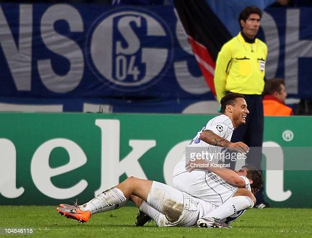 KlaasJan Huntelaar of Schalke celebrates the second goal with Jermaine Jones during the UEFA Champions League match between FC Schalke 04 and SL...