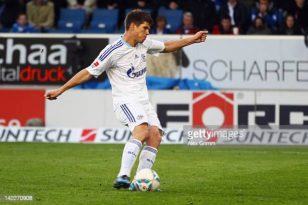 Klaas-Jan Huntelaar of Schalke scores his team's first goal with a penalty during the Bundesliga match between 1899 Hoffenheim and FC Schalke 04 at...