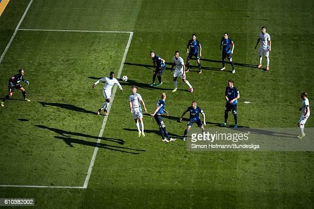 Klaas-Jan Huntelaar of Schalke tries to score against Oliver Baumann of Hoffenheim during the Bundesliga match between TSG 1899 Hoffenheim and FC...