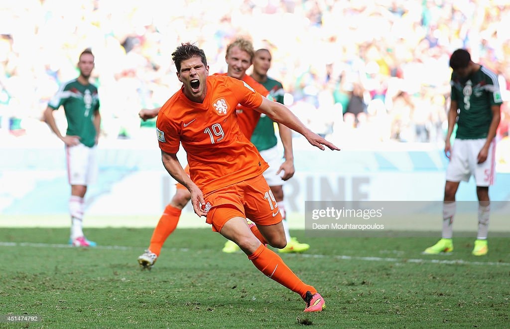 Klaas-Jan Huntelaar of the Netherlands celebrates scoring his team's second goal on a penalty kick in stoppage time during the 2014 FIFA World Cup Brazil Round of 16 match between Netherlands and Mexico at Castelao on June 29, 2014 in Fortaleza, Brazil.