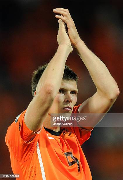 KlaasJan Huntelaar of the Netherlands thanks the fans at the end of the UEFA EURO 2012 Group E Qualifier between Netherlands and Moldova at the Kuip...