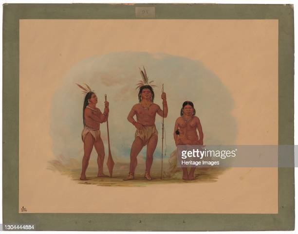 Klahoquaht Chief, His Wife, and Son, 1855/1869. Loon-dógst with Chín-nee and son on the west coast of Vancouver Island. 1855. Artist George Catlin.