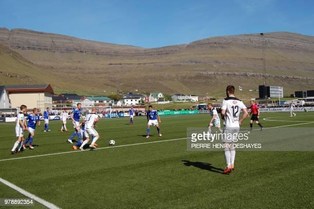 Klakstvik's players play against Tórshavn's players during the Faroe Islands football championship football match KÍ Klakstvik against B36 Tórshavn...