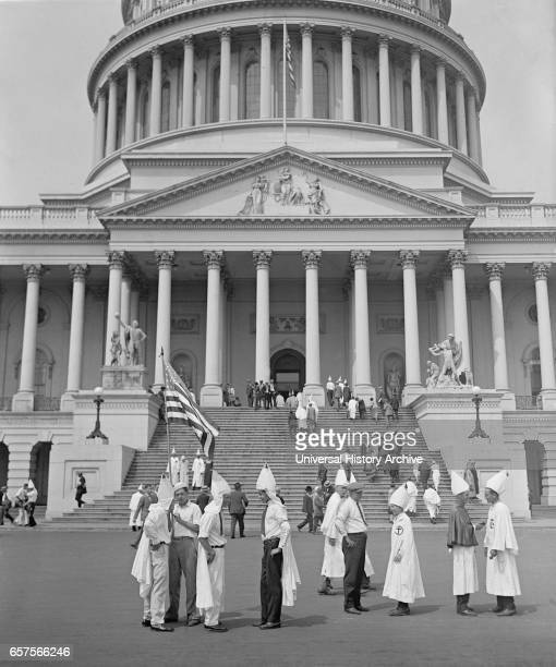 Klansmen Sightseeing at Capitol Building Washington DC USA National Photo Company August 1925