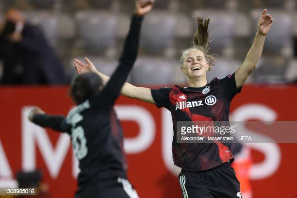 Klara Bühl of Bayern München celebrates scoring the 2nd team goal with her team mate Lineth Beerensteyn during the First Leg of the UEFA Women's...