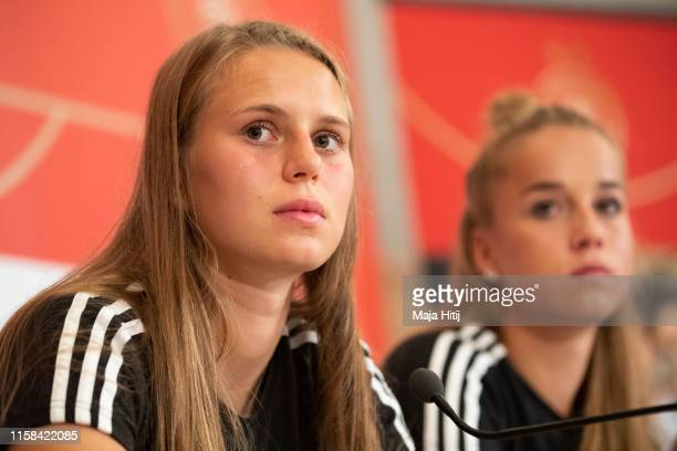 Klara Buehl and Giulia Gwinn of Germany attend a press conference on June 26, 2019 in Bruz near Rennes, France.