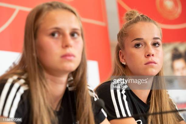Klara Buehl and Giulia Gwinn of Germany attend a press conference on June 26 2019 in Bruz near Rennes France