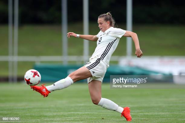 Klara Buehl of Germany controls the ball during the U19 women's elite round match between Germany and Switzerland at Friedensstadion on June 9 2017...