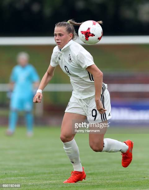 Klara Buehl of Germany runs with the ball during the U19 women's elite round match between Germany and Switzerland at Friedensstadion on June 9 2017...
