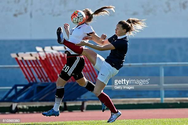 Klara Buhl of Germany callenges Emelie Saint Georges of France during the match of the U16 Girl's Germany v U16 Girl's France UEFA Tournament on...