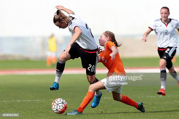 Klara Buhl of Germany callenges Janou Levels of Netherlands during the match of the U16 Girl's Netherlands v U16 Girl's Germany UEFA Tournament on...