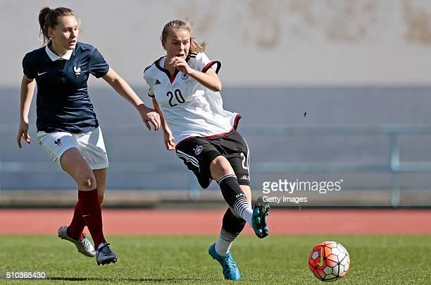Klara Buhl of Germany callenges Verena Wieder of France and scores during the match of the U16 Girl's Germany v U16 Girl's France UEFA Tournament on...