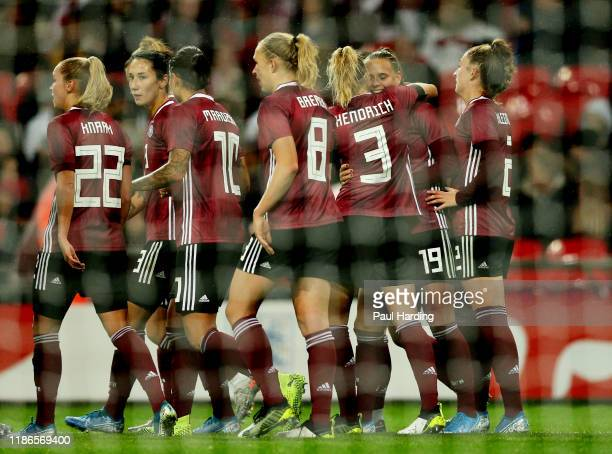 Klara Buhl of Germany celebrates scoring her sides second goal during the International Friendly between England Women and Germany Women at Wembley...