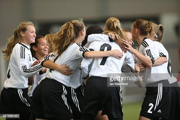 Klara Buhl of Germany celebrates scoring the opening goal during the International Challenge Match between Scotland Women's U16 and Germany Women's...