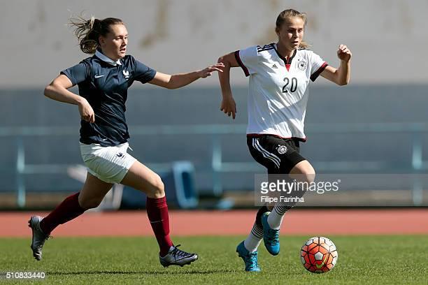Klara Buhl of Germany challenges Emelie Saint Georges of France during the match of the U16 Girl's Germany v U16 Girl's France UEFA Tournament on...