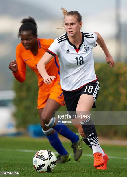 Klara Buhl of Germany competes for the ball with Danique Ypema of Netherlands during the international friendly match between Germany Women U19 and...