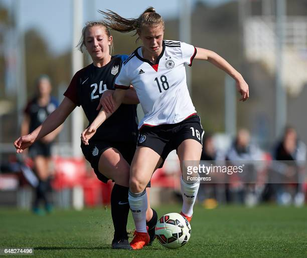 Klara Buhl of Germany competes for the ball with Frankie Tagliaferri of USA during the international friendly match between Germany Women U19 and USA...