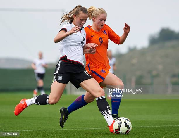 Klara Buhl of Germany competes for the ball with Mijke Roelfsema of Netherlands during the international friendly match between Germany Women U19 and...