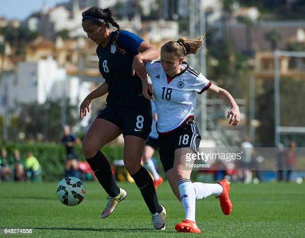 Klara Buhl of Germany competes for the ball with Sam Hiatt of USA during the international friendly match between Germany Women U19 and USA Women U19...