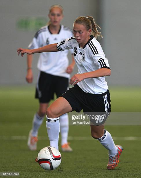 GLASGOW SCOTLAND OCTOBER Klara Buhl of Germany controls the ball during the International Challenge Match between Scotland Women's U16 and Germany...