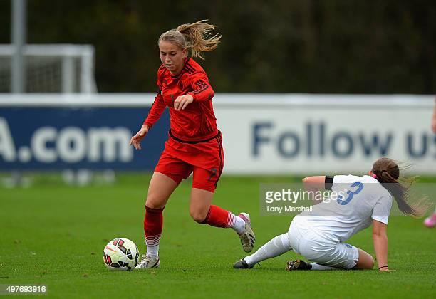 Klara Buhl of Germany gets past Katherine Turner of England during Women's U16s International Friendly match between England U16s Women and Germany...