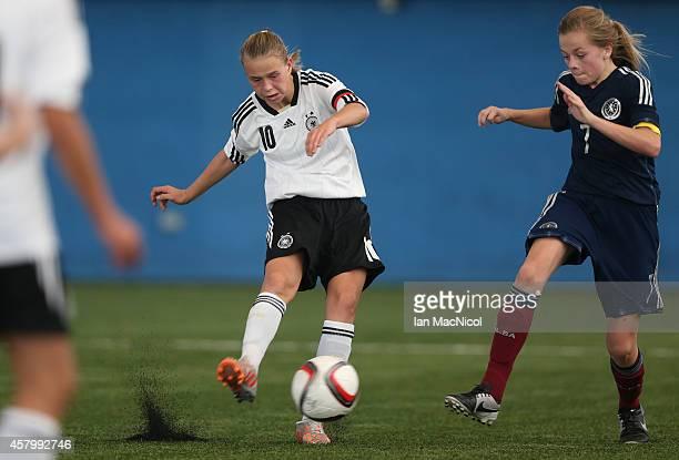 GLASGOW SCOTLAND OCTOBER Klara Buhl of Germany scores during the International Challenge Match between Scotland Women's U16 and Germany Women's U16...