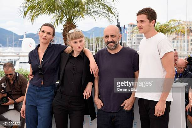 Klara Kirstin Gaspar Noe Karl Glusman and Aomi Muyock attends the Love photocall during the 68th annual Cannes Film Festival on May 21 2015 in Cannes...
