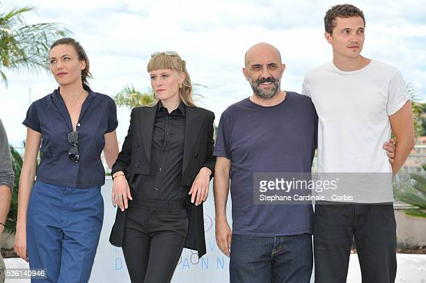Klara Kirstin Gaspar Noe Karl Glusman and Aomi Muyock attends the 'Love' Photocall during the 68th Cannes Film Festival on May 21 2015 in Cannes...