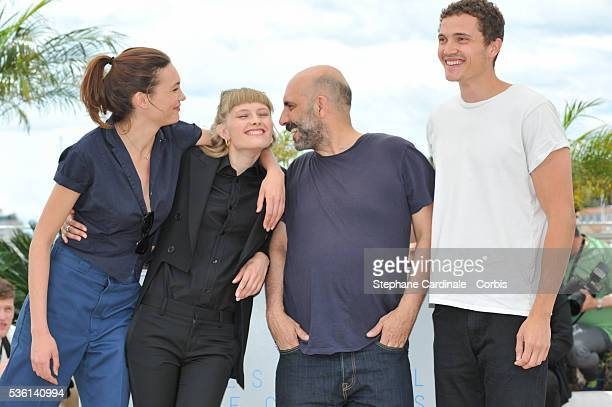 Klara Kirstin Gaspar Noe Karl Glusman and Aomi Muyock attends the Love Photocall during the 68th Cannes Film Festival on May 21 2015 in Cannes France