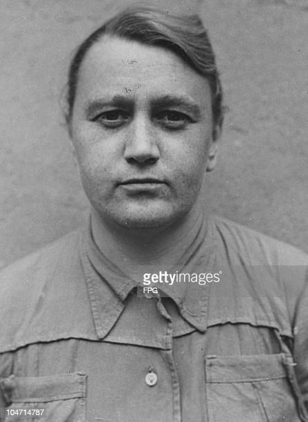 Klara Opitz, a guard at the Bergen-Belsen concentration camp, Germany, circa 1945. Charged with war crimes and crimes against humanity, Opitz is...
