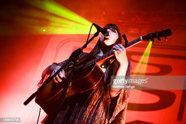 Klara Soderberg of First Aid Kit performs at HMV Ritz on November 22 2012 in Manchester England