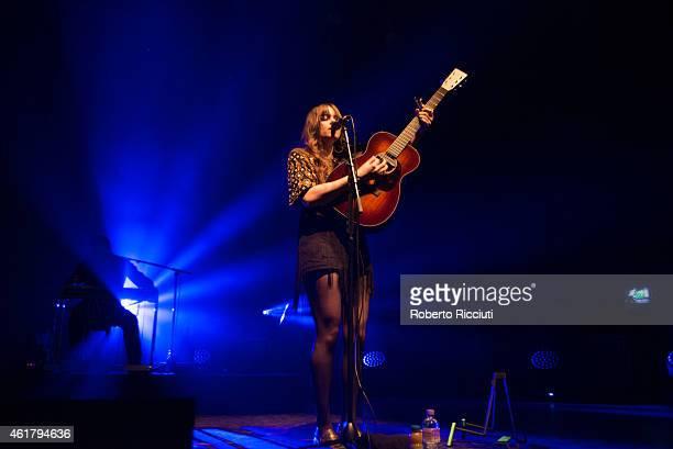 Klara Soderberg of First Aid Kit performs on stage at Usher Hall on January 19, 2015 in Edinburgh, United Kingdom.