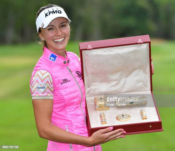 Klara Spilkova of czech holds her trophy after winning the Lalla Meryem Cup after the final round of the Trophee Hassan II at Royal Golf Dar Es Salam...