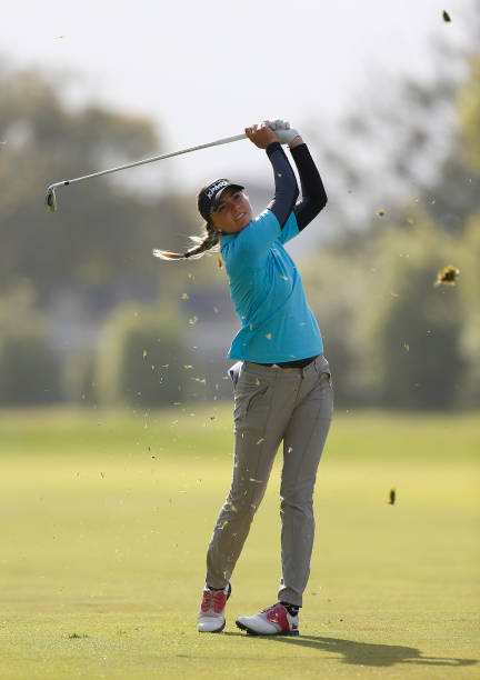 Klara Spilkova Of Czech Republic hits on the 2nd hole during the second round of the LPGA Mediheal Championship at Lake Merced Golf Club on May 03...