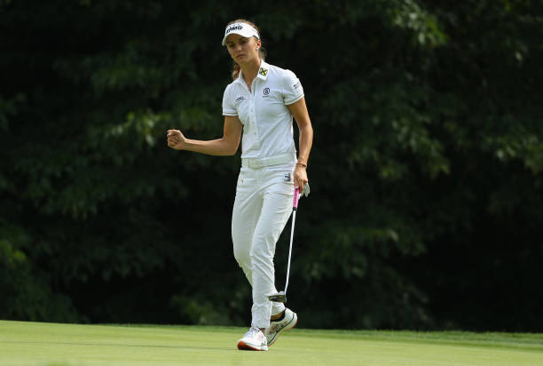 Klara Spilkova of the Czech Republic celebrates a birdie putt on the seventh hole during the second round of the 2017 KPMG Women's PGA Championship...