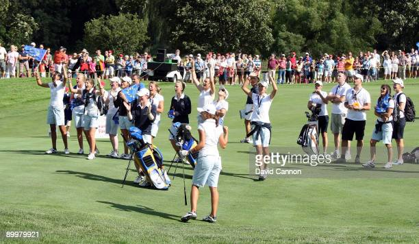 Klara Spilkova of the Czech Republic chips close at the final hole during the Opening Ceremony for the 2009 Solheim Cup Matches at the Rich Harvest...