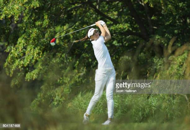 Klara Spilkova of the Czech Republic hits a tee shot on the fifth hole during the second round of the 2017 KPMG Women's PGA Championship at Olympia...