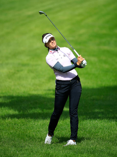 Klara Spilkova of the Czech Republic hits her second shot on the second hole during the first round of the Meijer LPGA Classic at Blythefield Country...