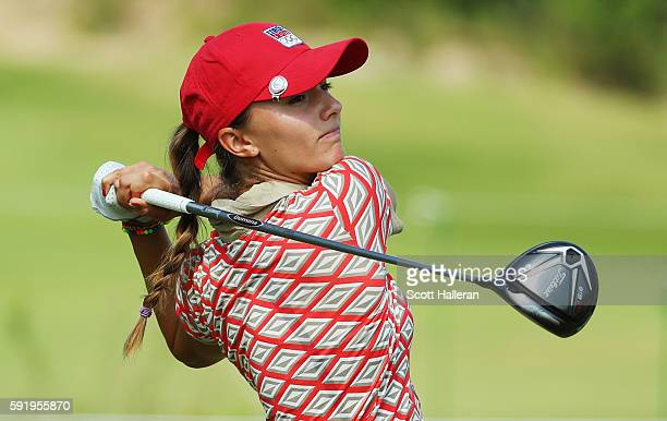 Klara Spilkova of the Czech Republic hits her tee shot on the 11th hole during the third round of the Women's Individual Stroke Play golf on Day 14...