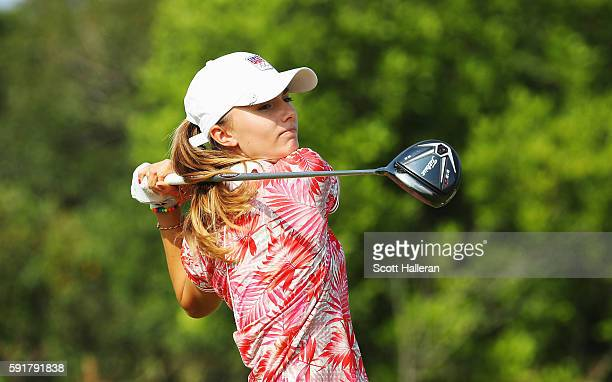 Klara Spilkova of the Czech Republic hits her tee shot on the fifth hole during the second round of the Women's Individual Stroke Play golf on Day 13...