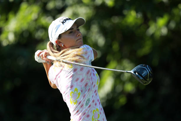 Klara Spilkova of the Czech Republic hits her tee shot on the first hole during the second round of the KPMG Women's PGA Championship at Kemper Lakes...