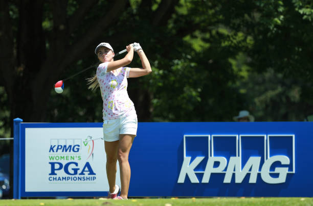 Klara Spilkova of the Czech Republic hits her tee shot on the tenth hole during the second round of the KPMG Women's PGA Championship at Kemper Lakes...