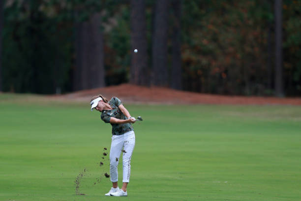 Klara Spilkova of the Czech Republic hits her third shot on the fifth hole during the LPGA QSeries presented by Blue Cross and Blue Shield North...