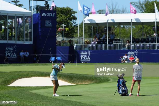 Klara Spilkova of the Czech Republic hits her thrd shot on the 18th hole during the final round of the 2017 KPMG Women's PGA Championship at Olympia...