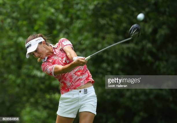 Klara Spilkova of the Czech Republic in action during the first round of the 2017 KPMG Women's PGA Championship at Olympia Fields Country Club on...
