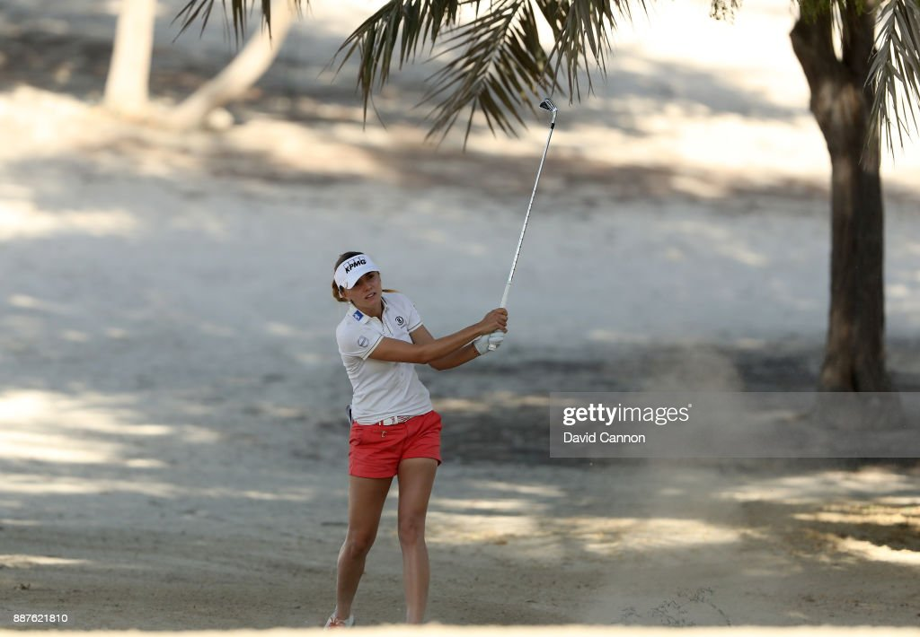Klara Spilkova of the Czech Republic plays her second shot on the par 4, 14th hole during the second round of the 2017 Dubai Ladies Classic on the Majlis Course at The Emirates Golf Club, on December 7, 2017 in Dubai, United Arab Emirates.