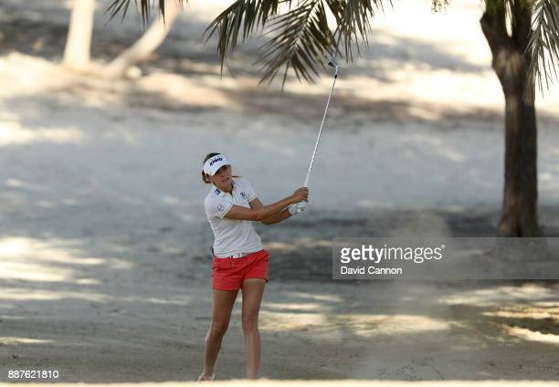 Klara Spilkova of the Czech Republic plays her second shot on the par 4 14th hole during the second round of the 2017 Dubai Ladies Classic on the...