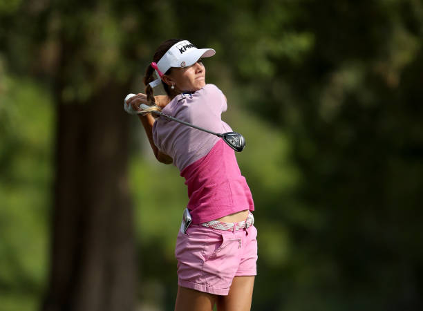 Klara Spilkova of the Czech Republic plays her tee shot on the par 3 15th hole during the third round of the 2017 Dubai Ladies Classic on the Majlis...
